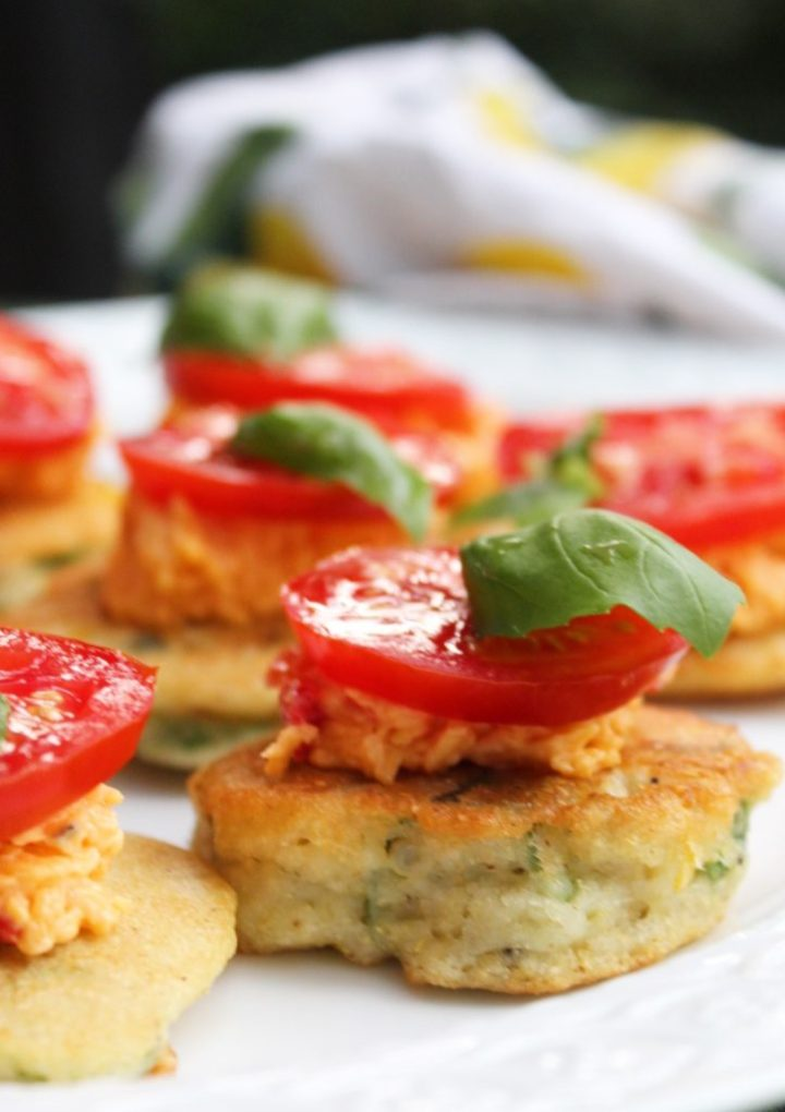 The Perfect Southern, Summer Appetizer: Okra Tomato and Corn Hoecakes with Pimento Cheese