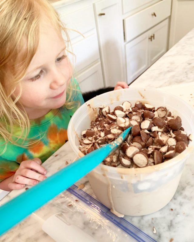 Child looking at ice cream