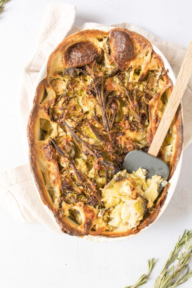 potato and brussels sprout gratin