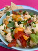 bowl of conch salad with tortilla chips