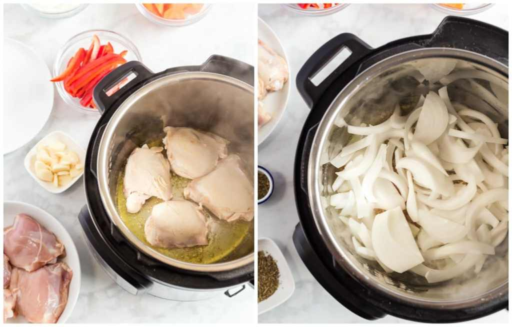 Step by step photos for making Instant Pot Cacciatore. Searing the chicken and cooking the onions.
