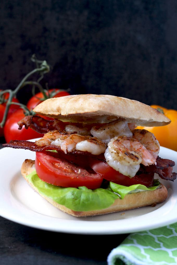 Perfectly grilled shrimp and a delicious creamy herb aioli elevate the classic BLT to new levels. Easy and flavorful, the secret is in the aioli.