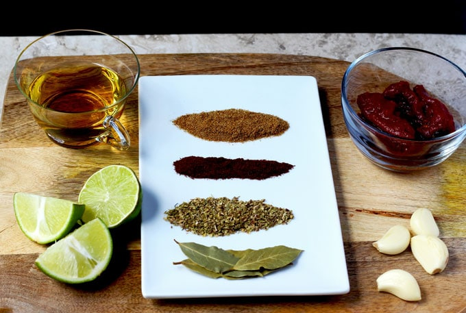 Ingredients to make barbacoa beef braising liquid