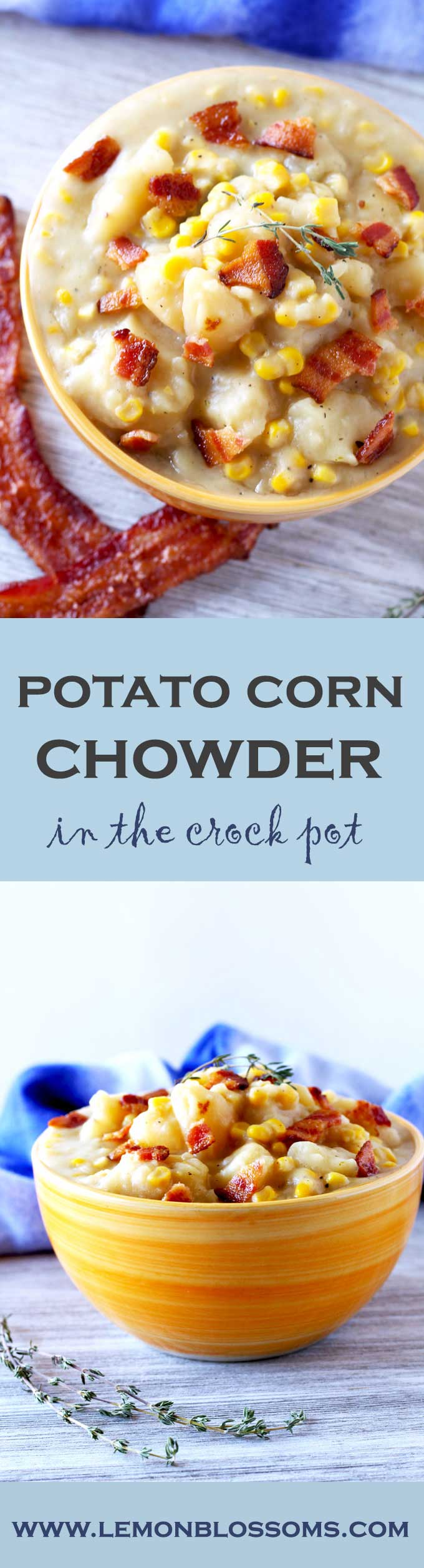 Creamy, thick, flavorful and super easy to make. This Potato Corn Chowder made the slow cooker is comfort food to the max! #slowcooker #crockpot #soup #potatocornchowder #chowder #comfortfood