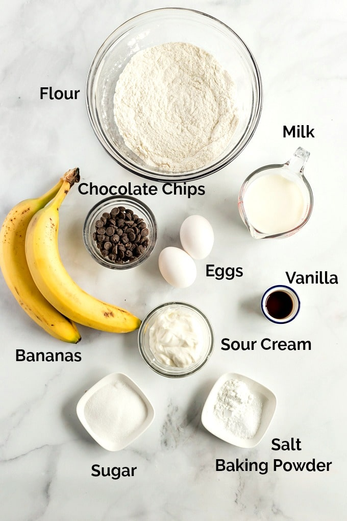 Ingredients to make Banana Pancakes with Chocolate Chips