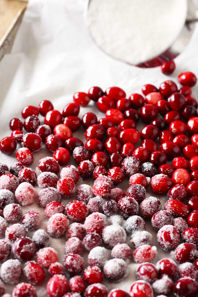 Sugared cranberries on a sheet pan