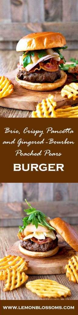 This Brie, Crispy Pancetta and Gingered-Bourbon Poached Pear Burger has the right combination of flavors. Juicy and tender beef, crispy pancetta, creamy Brie cheese and sweet and boozy gingered-bourbon poached pears. Topped with fresh arugula and served on a toasty Brioche bun. This is definitely not your regular cheeseburger!
