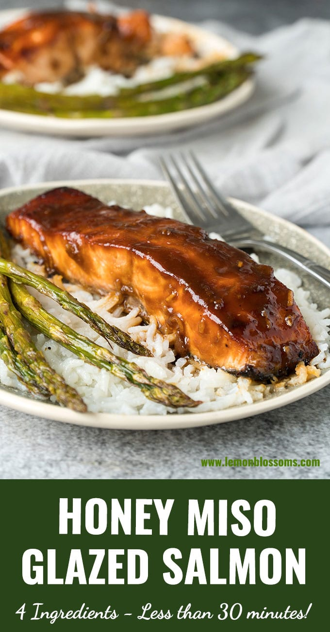 This Honey Miso Glazed Salmon is tender, flaky, light and bursting with flavor! With only 4 ingredients, this healthy salmon recipe is easy enough to make for a weeknight meal and elegant enough to serve to guests. #recipe #salmon #bake #grill #miso #Asian