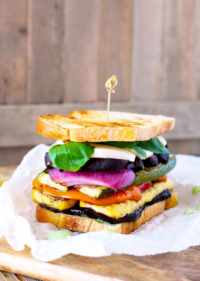 The Ultimate Grilled Veggie Sandwich ~ with Fresh Mozzarella and Basil Aioli