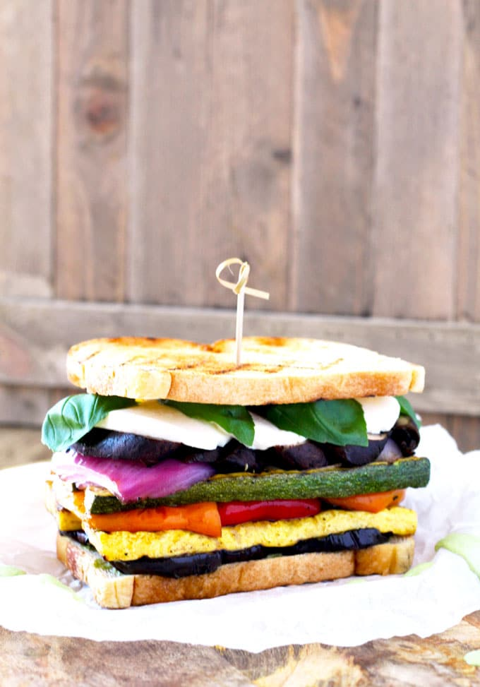 Loaded with marinated grilled vegetables, fresh mozzarella and a super flavorful and easy to make basil aioli. The Ultimate Grilled Veggie Sandwich is a great vegetarian option that is healthy, filling and delicious. Trust me even meat lovers will love this sandwich!!
