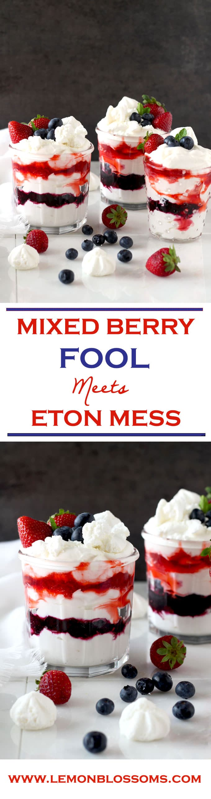 This Mixed Berry Fool is the simplest, most delicious, and fluffiest no bake dessert sure to impress your family and friends! Easy and quick makes this the perfect dessert for summer!