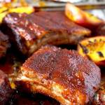 BBQ Ribs in the Oven with Bourbon Peach BBQ Sauce