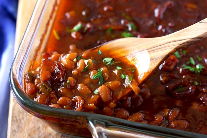 Homemade Baked Beans in a baking dish