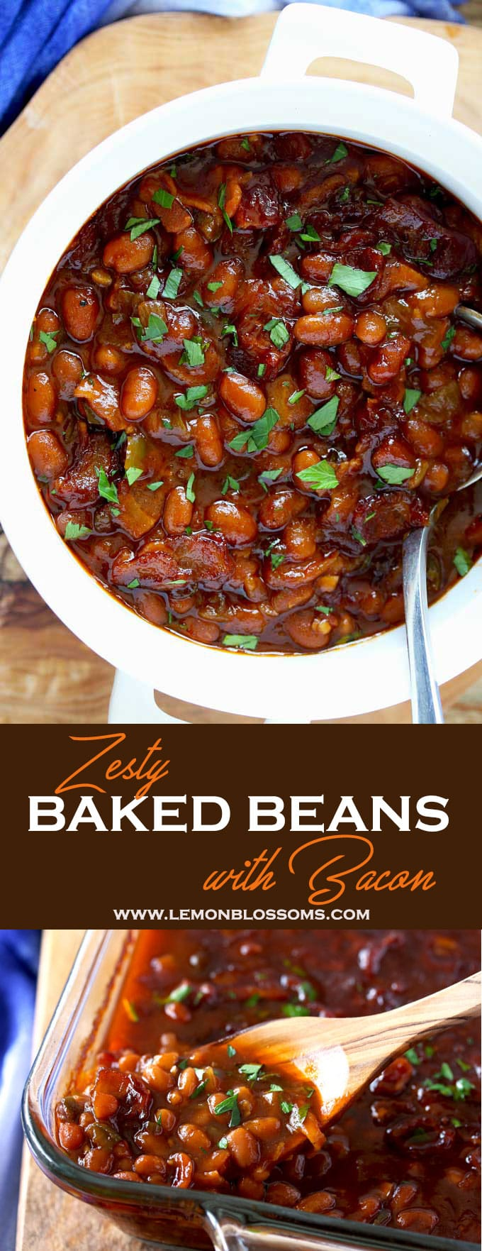 Savory, sweet, thick and hearty, these baked beans with bacon are perfectly seasoned, baked to perfection and with a few shortcuts incredibly easy to make! The perfect side dish for your next dinner, BBQ or gathering!