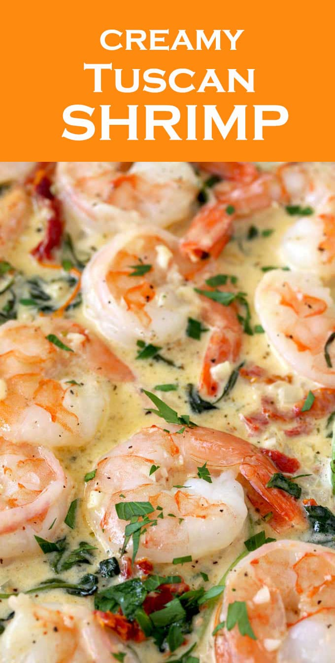 This Creamy Tuscan Shrimp is loaded with flavor! Succulent shrimp in creamy and rich garlic Parmesan sauce with sun dried tomatoes and spinach. The perfect easy shrimp recipe to impress your guests. #Shrimp #recipe #pasta #easy #olivegarden