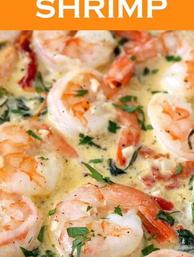 This Creamy Tuscan Shrimp is with flavor! Succulent shrimp in creamy and rich garlic Parmesan sauce with sun dried tomatoes and spinach. The perfect dish to impress your guests.