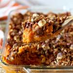 This Sweet Potato Casserole is seasoned with Bourbon Brown Butter and topped with a sweet, salty, nutty and crunchy topping.
