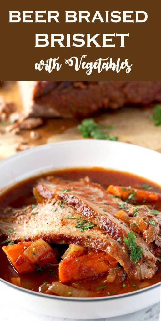 This incredibly tender Beer Braised Brisket is richly flavored, succulent and delicious. Cooked low and slow in beer and crushed tomatoes until mouthwatering perfection.