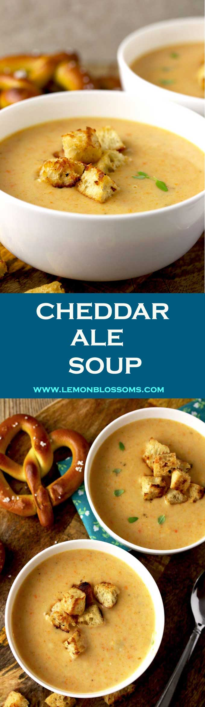 This Cheddar Ale Soup is thick, creamy, smooth and full of cheesy-goodness! Made with a light ale and a medium aged cheese to prevent bitterness. Very easy to make and ready in a bit less than 30 minutes! #cheddar #cheese #ale #beer #soup