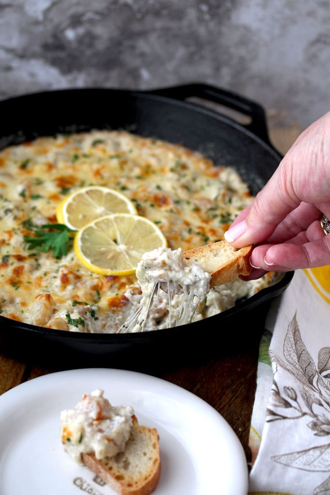 A close up view of a cast iron skillet filled with Shrimp Scampi Dip. The golden top is garnished with 2 thin slices of lemon and parsley. You can see a hand scooping the cheesy dip with a piece of toasted bread.