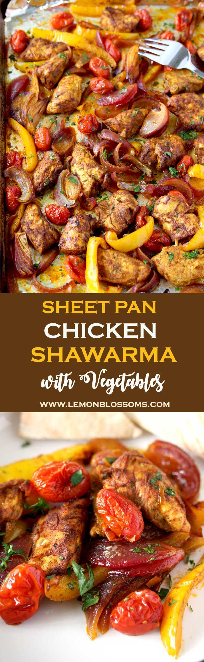 This Middle Eastern inspired Sheet Pan Chicken Shawarma with Vegetables is light, healthy and delicious.  The best part is this tasty one pan meal is made in 25 minutes! #onepanmeal #chicken