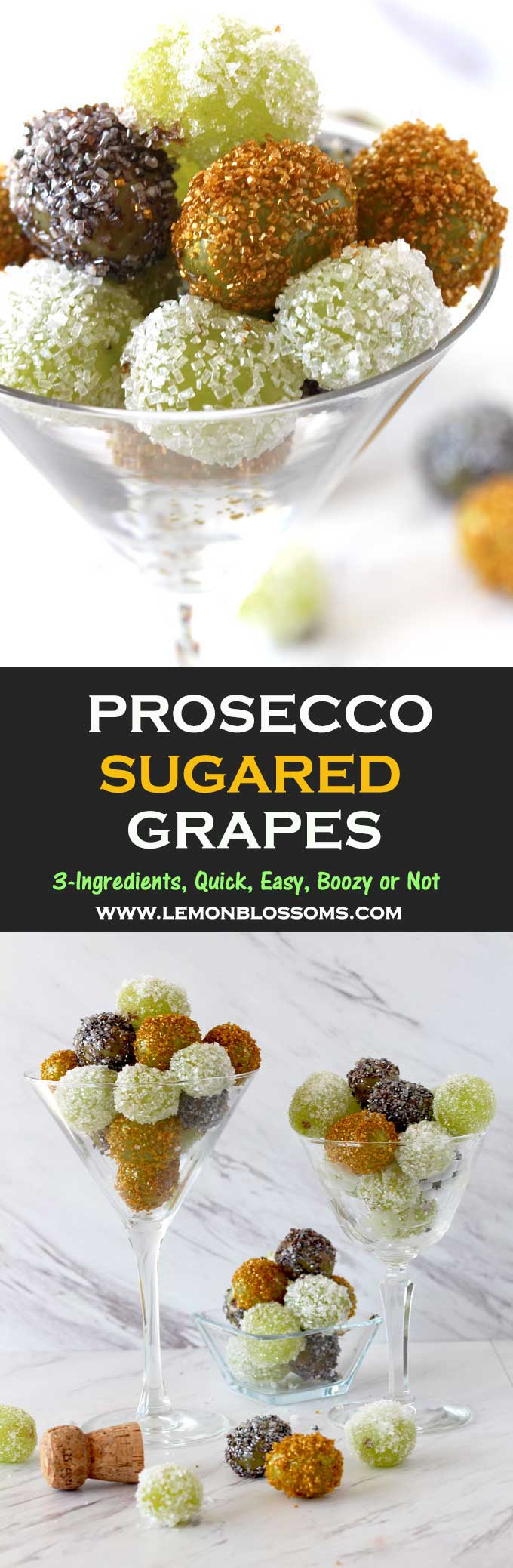 These Prosecco Sugared Grapes have only 3 ingredients and are super easy to make. Sweet, crunchy, boozy and addicting! They are the perfect lucky treat for New Year's or any other day of the year! Kid friendly version instructions provided. #grapes #prosecco #champagne #sugaredgrapes #candiedgrapes #newyearseve #partyfoods #proseccograpes #appetizer #dessert