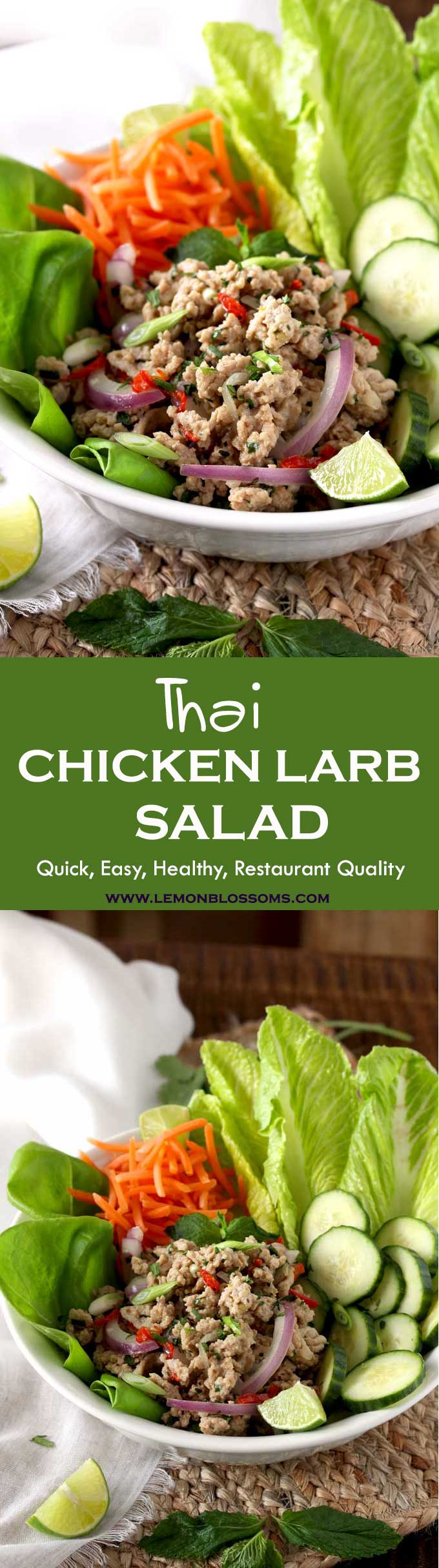 This Thai Chicken Larb Salad is made with ground chicken, lime juice and fresh herbs. Healthy, fresh, aromatic and super tasty! No need to drive to your favorite Thai restaurant anymore, enjoy this popular and exotic salad at home! #Thai #Salad #Larb #chicken