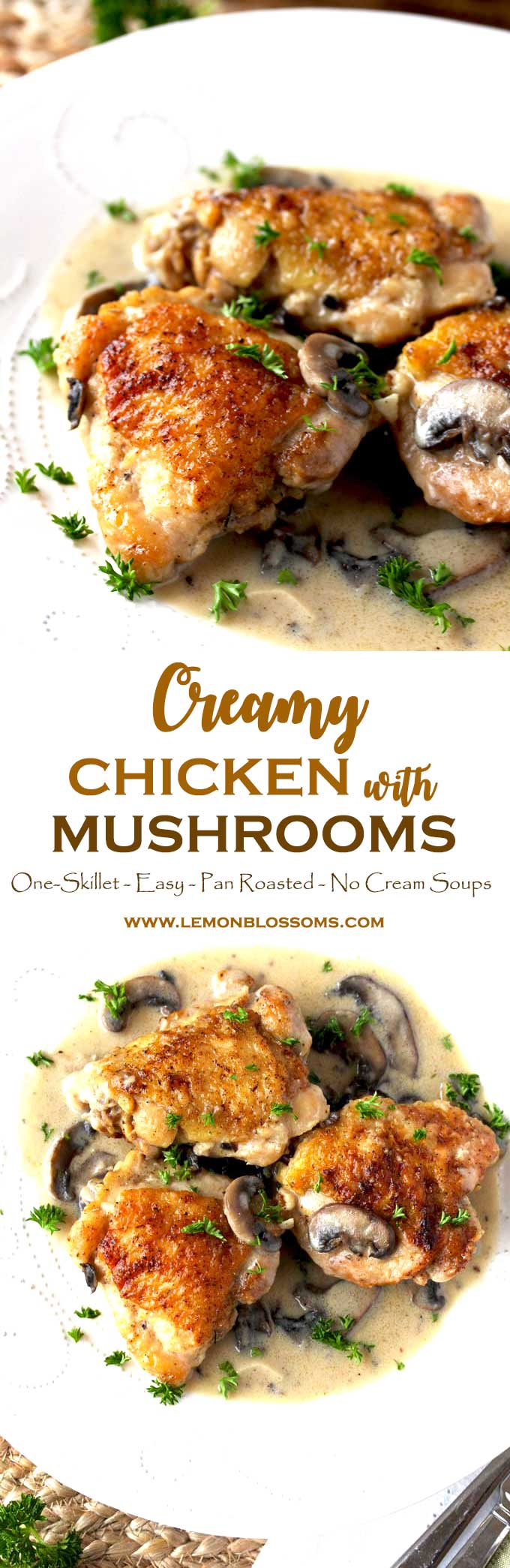 This Creamy Chicken and Mushrooms recipe is easy and delicious. Bone-in chicken thighs are pan roasted and smothered in the most delectable creamy mushroom sauce made from scratch (no cream of mushroom soup here!). A simple yet elegant meal perfect for company but also great any day of the week! #chickendinner #easychickenrecipe #chickenandmushrooms #creamymushrooms #oneskillet #chickenrecipe