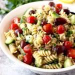 Mediterranean Tuna Pasta Salad (No-Mayo)