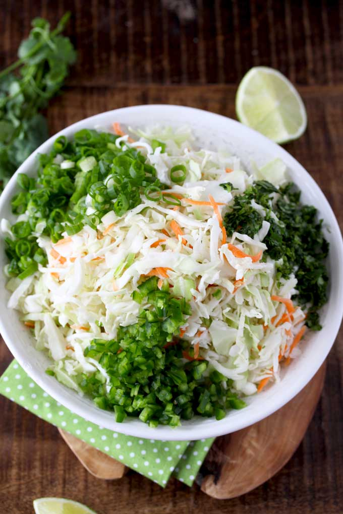 Top view of ingredients to make Cilantro Lime coleslaw.