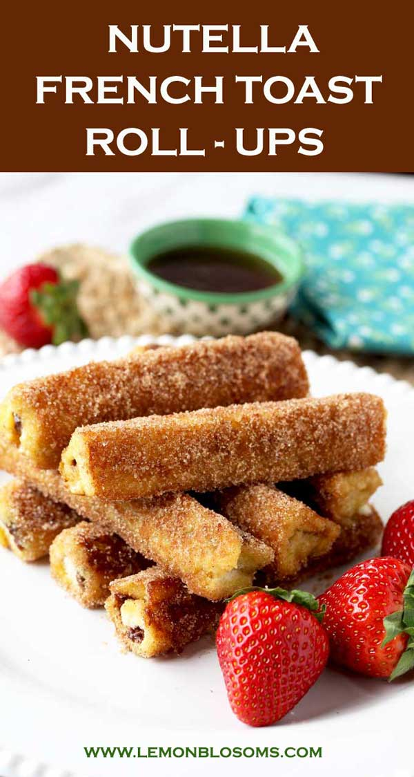 These Nutella French Toast Roll-Ups are a fun, finger-friendly treat for breakfast or brunch. These portable, and easy to make French Toast Roll Ups are filled with delicious Nutella, dunked into custard, sauteed until golden brown and then rolled in cinnamon sugar goodness! #nutella #recipes #rollups #Frenchtoast #easy #cinnamonsugar #breakfast #brunch #cinnamonrolls #easybreakfast #frenchtoastrollups