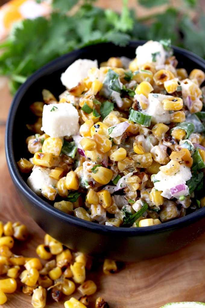 A bowl of Mexican Street Corn Salad