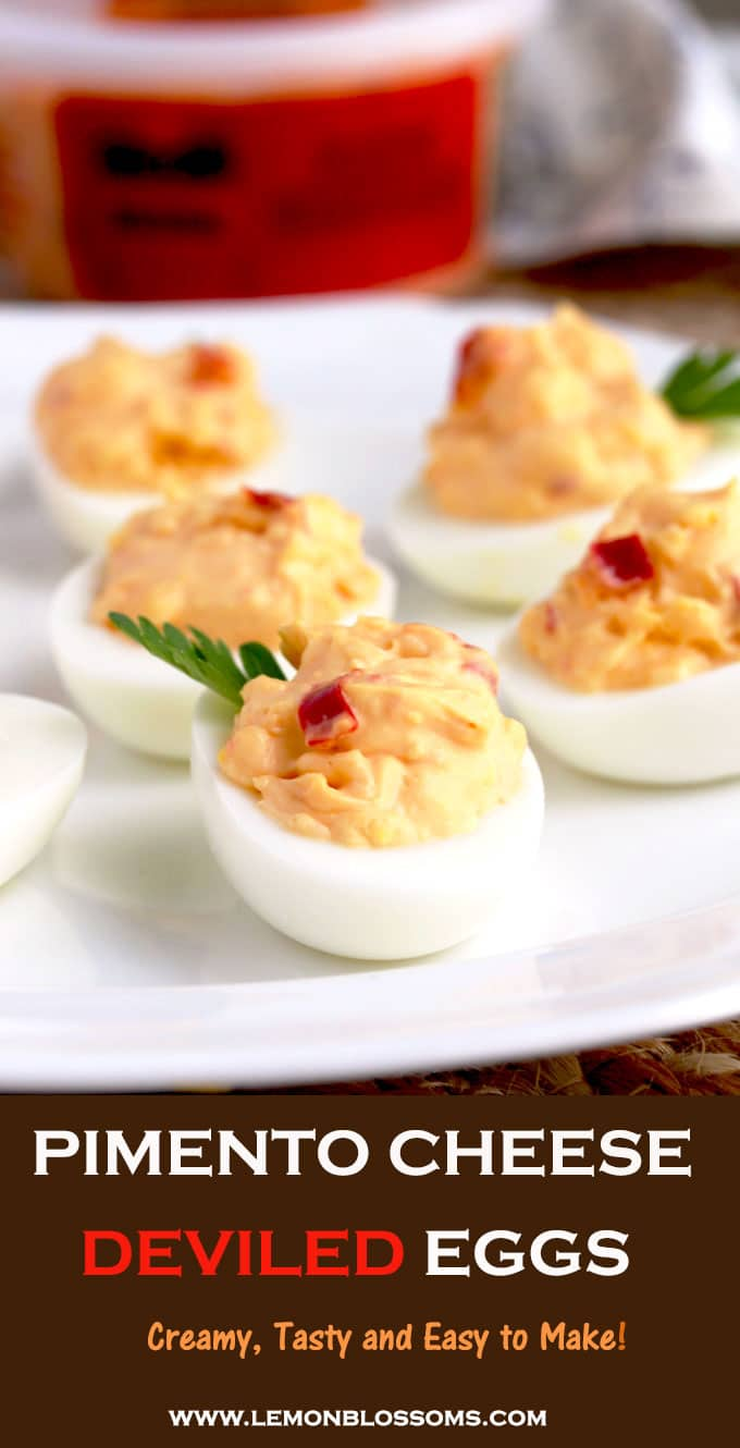 These Pimento Cheese Deviled Eggs are creamy, tasty and easy to make. A fun and delicious twist on a classic recipe and the perfect appetizer for any occasion! #sponsored #PricesTradition #deviledeggs #pimentocheese #appetizer