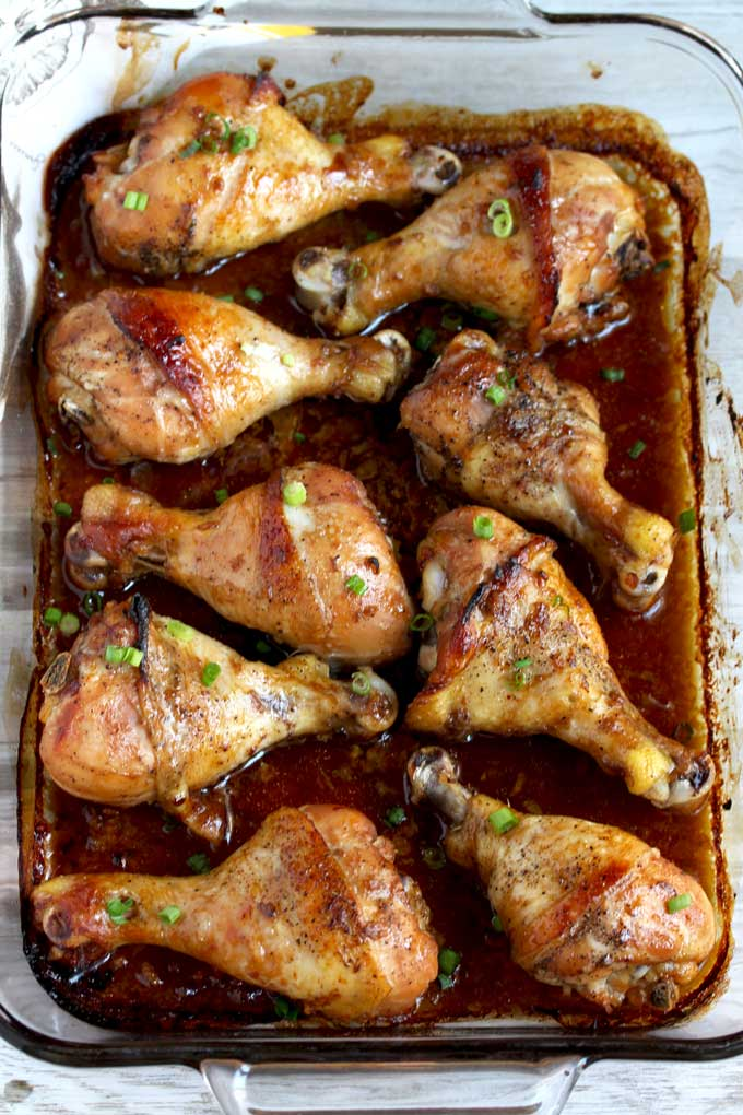 Baking Sheet filled with Honey Soy Baked Chicken Legs