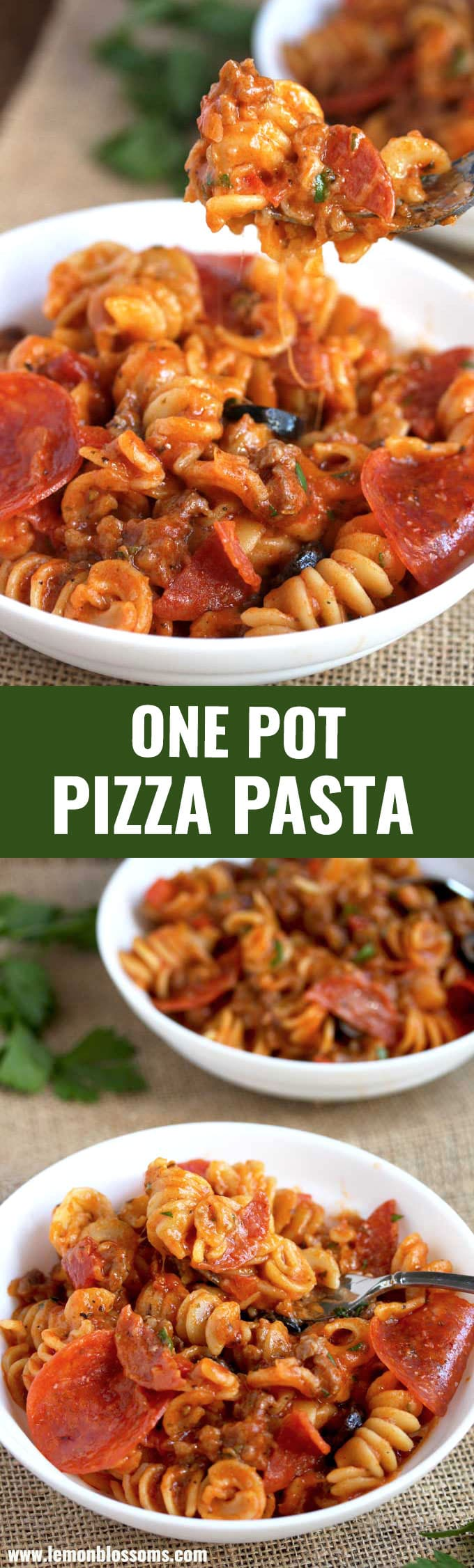 This Pizza Pasta combines all the great flavors of your favorite pizza in an easy 30 minutes, one pot pasta dish! This cheesy pizza casserole is kid friendly and always a family dinner favorite! #recipe #casserole #comfortfoods #pepperoni #cheesy #easy #pasta