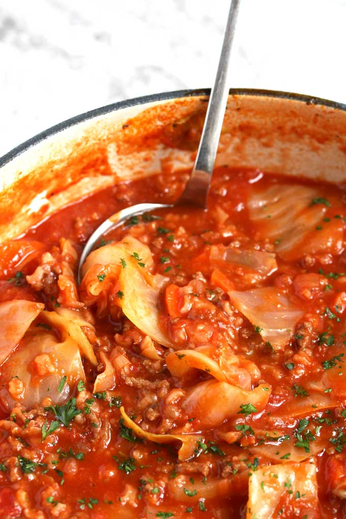 Cabbage Roll Soup in a Dutch Oven.