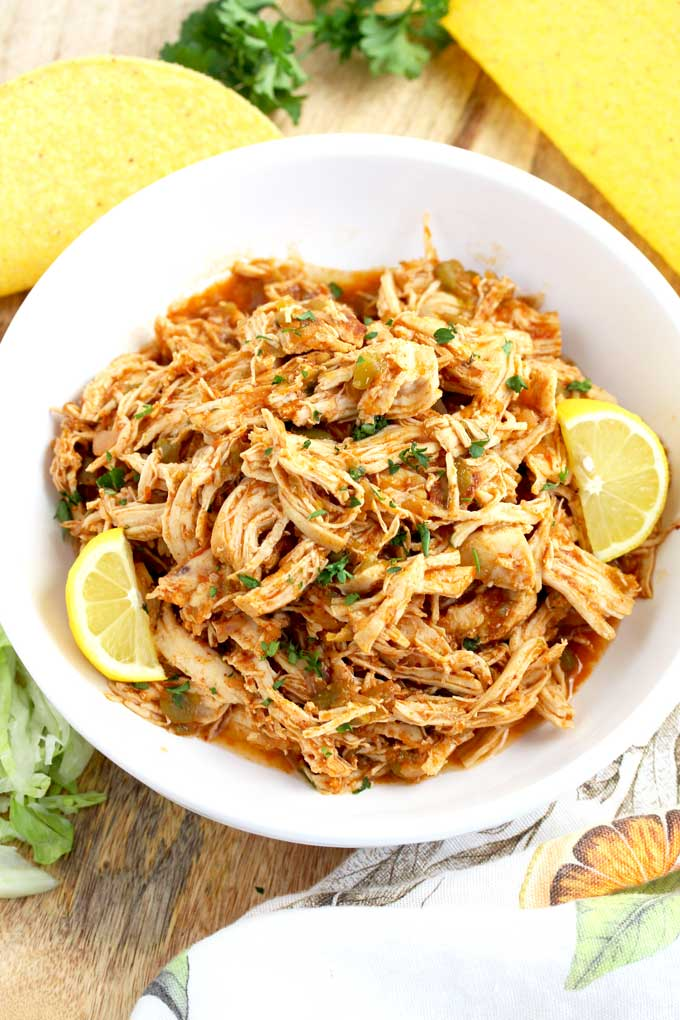 Top view of a bowl filled with Mexican Style Shredded Chicken.