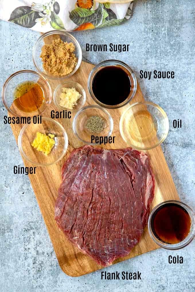 Ingredients to make this flank steak recipe with Korean marinade.