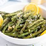 Green beans with garlic and Parmesan roasted served in a bowl