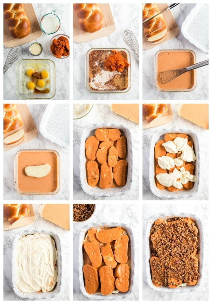 Step by step photos for making pumpkin French toast casserole.