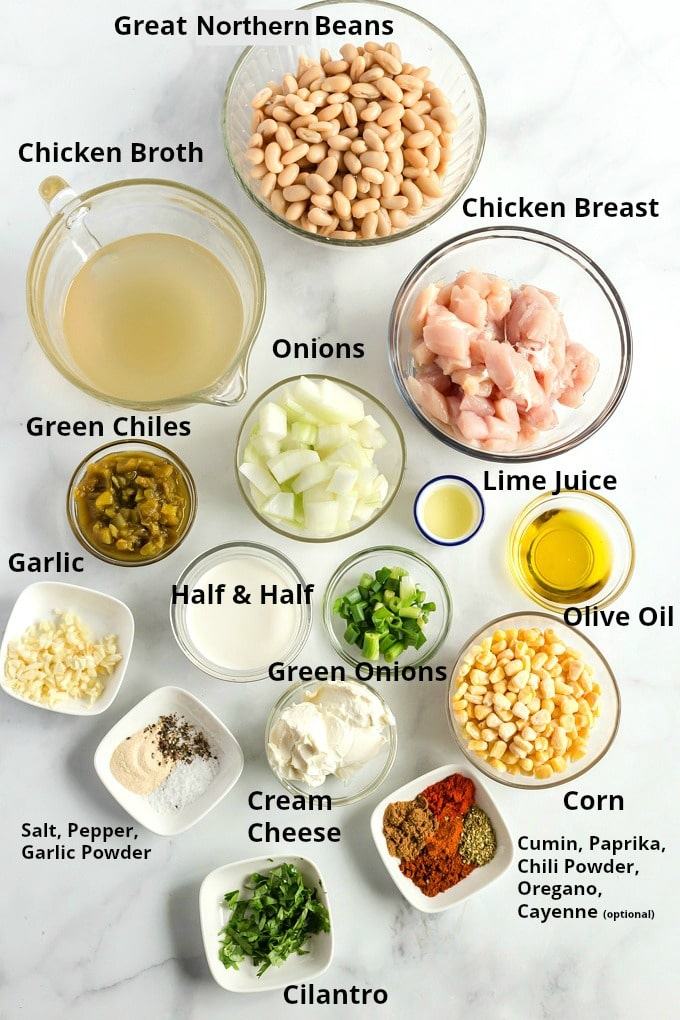 Ingredients to make this chicken chili recipe.