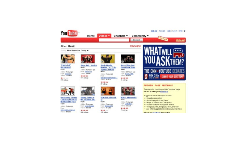 youtube nova interface