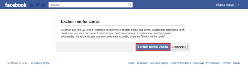 Mensagem do facenbook sobre excluir uma conta para sempre