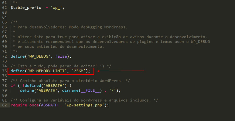 Pint com exemplo para arrumar o erro wordpress memory limit