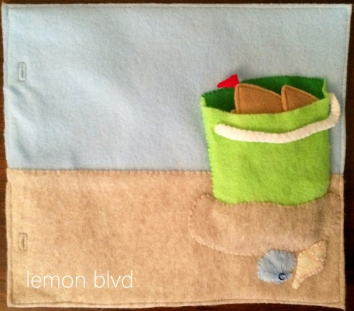 Beach Quiet Book Page - sandcastle in a bucket - lemon blvd