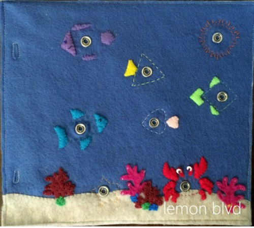 Fish Quiet Book page - snaps for shapes - lemon blvd