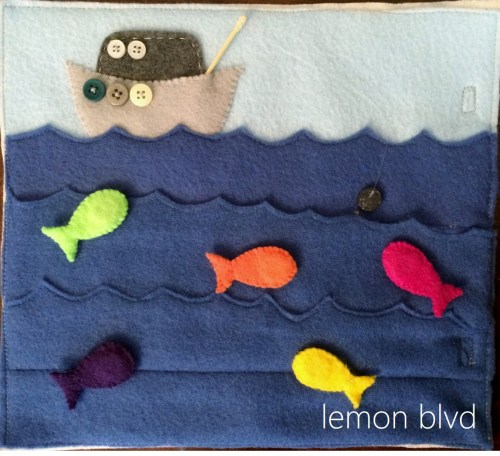 Fishing Quiet Book Page - magnets inside the fish - lemon blvd