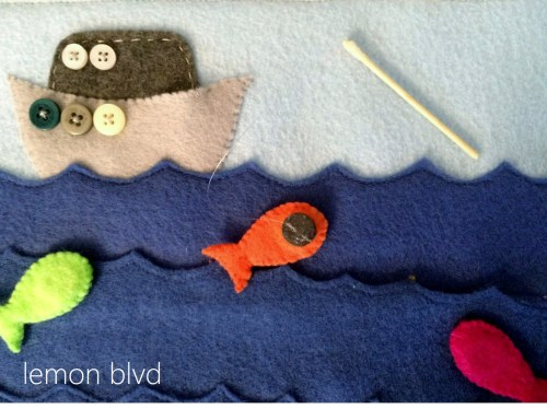 Fishing with magnets - quiet book page - lemon blvd