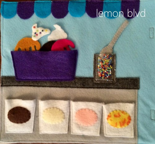 Ice Cream and Toppings Quiet Book Page - lemon blvd