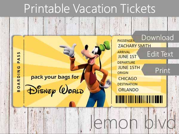 graphic relating to Disney World Printable Tickets identified as Speculate Vacation Tickets Disney lemon blvd